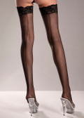 Be Wicked Sheer Lace-top Nylon Thigh Highs with Back Seam