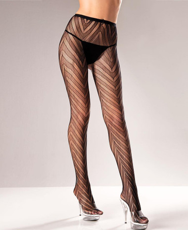 Be Wicked Chevron Pattern Lace Pantyhose