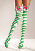 Be Wicked Stripe Thigh Highs with Strawberry on Bow
