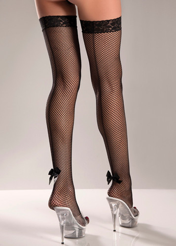 Be Wicked Fishnet Thigh Highs with Backseam and Satin Bow