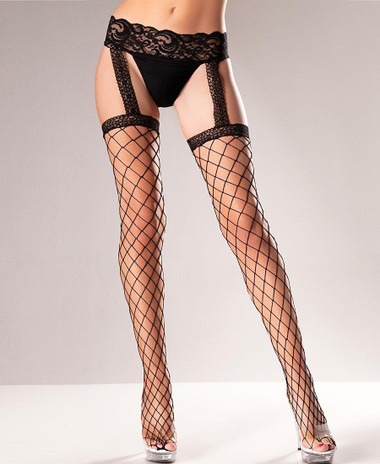 Be Wicked Fence Net Garter Belt Stockings