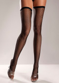 Be Wicked Fishnet Thigh Highs with Thin Scalloped Elastic Top