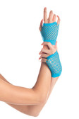 Be Wicked Wrist Length Fishnet Gloves - Turquoise