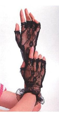 Be Wicked Fingerless Lace Gloves - Black