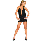 Roma Costume Halter Slinky Cowl Neck Mini Dress