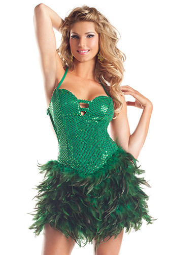 Be Wicked Exotic Feathers- Feather Dress   - Green