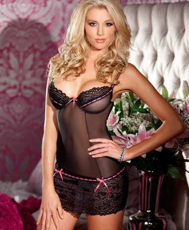 Be Wicked 2 Piece Set Lace and Mesh Chemise