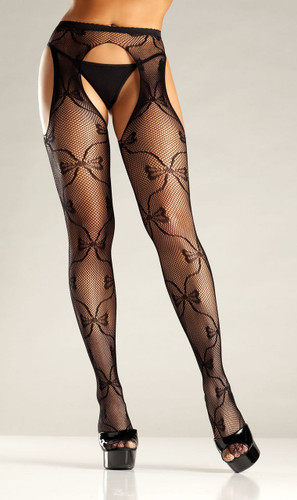 Be Wicked Bow Lace Suspender Pantyhose