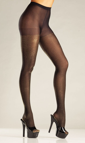 Be Wicked Black and Gold Lurex Pantyhose - Gold