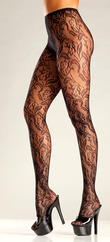 Be Wicked Floral Net Pantyhose