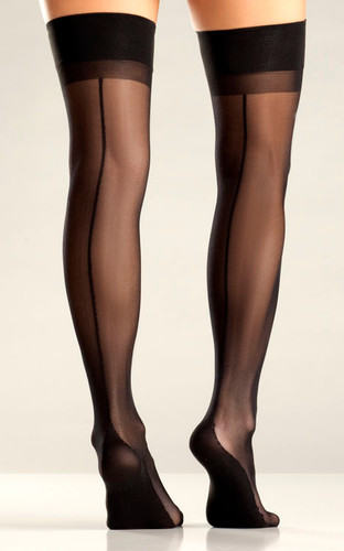 Be Wicked Black Cuban Heel Thigh Highs