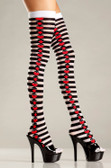 Be Wicked Opaque Striped Thigh Highs with Suits On Side