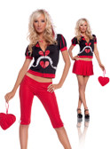 Wonderland Queen 5 pc costume includes hoodie capris skirt necklace and heart purse (9529)
