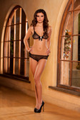 Elegant Moments  Mesh Ruffle Bra And Cameo With Booty Shorts - Black