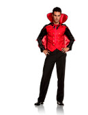 Vampire Villian 2 pc Costume includes long sleeve shirt with attached vest and cape with stand up collar (9505)