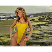 Starwear USA Halley Extreme Side One Piece Swimsuit - Yellow Wet Look