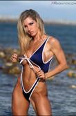 Starwear USA Mariella Skimpy Retro Cut One Piece Swimsuit - Navy