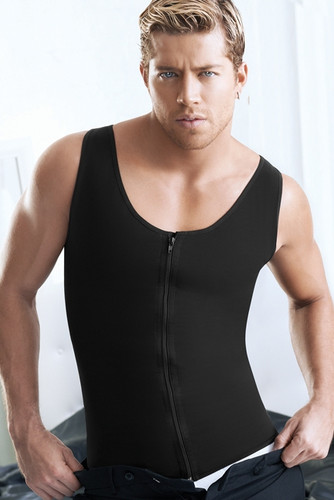 Ann Chery Latex Men Girdle Vest Body Shaper with zipper - Black