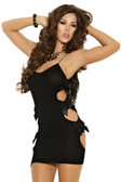 Elegant Moments Opaque Mini Dress with Cut Out Sides and Satin Bow Detail