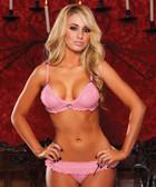 Hustler Lingerie Pink Heart Mesh Bikini Set