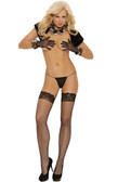Elegant Moments Fence Net Thigh High with Stay Up Silicone Lace Top
