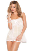 Elegant Moments Flirty Babydoll - White