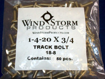 "1/4-20 x 3/4"" Square Head F-Track Bolts in 18-8 Stainless Steel 50@Pack"