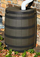 40 Gallon Flat Back - Good Ideas Rain Barrel - OAK w/ Black Ribs