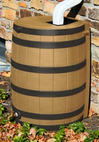 40 Gallon Flat Back - Good Ideas Rain Barrel - KHAKI w/ Black Ribs