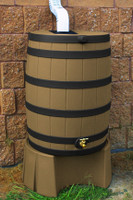 40 Gallon Flat Back - Good Ideas Rain Barrel - KHAKI Ribs & Stand