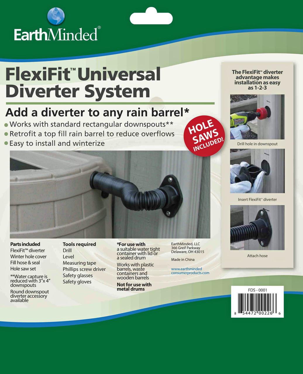 Rain barrel diverter , rain barrel diverter kit, earthminded rain barrels