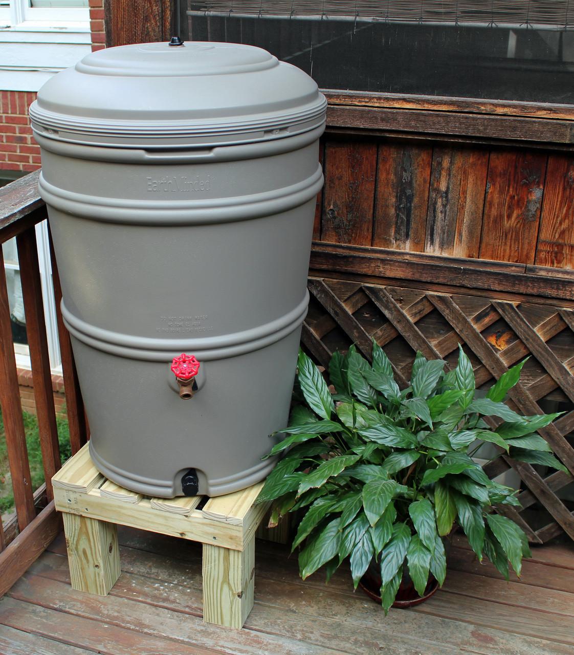 earthminded set 45 gallon rain station barrel u0026 wooden stand granite
