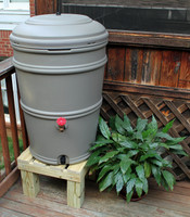 Earthminded SET - 45 Gallon Rain Station Barrel & Wooden Stand - GRANITE
