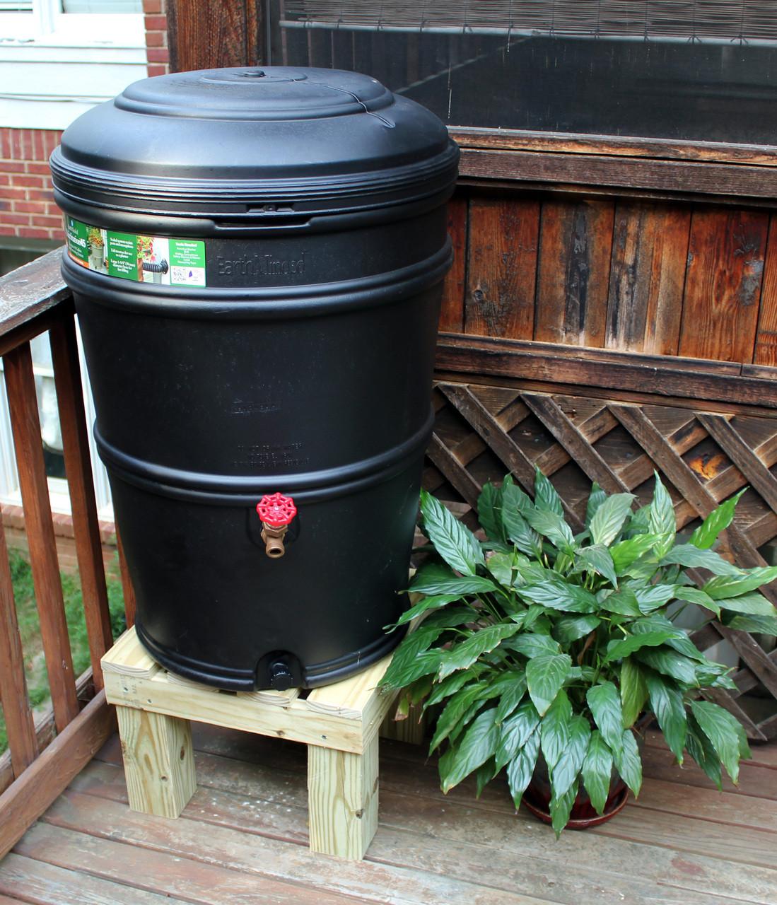 earthminded set 45 gallon rain station barrel u0026 wooden stand charcoal