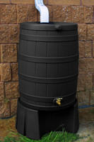 50 Gallon Flat Back - Good Ideas Rain Barrel - BLACK w/Stand