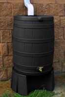 50 Gallon Flat Back - Good Ideas Rain Barrel - BLACK w/Stand