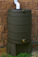 50 Gallon Flat Back - Good Ideas Rain Barrel - OAK & Stand