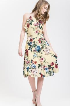 Blu Pepper - Floral ruffle dress - Yellow