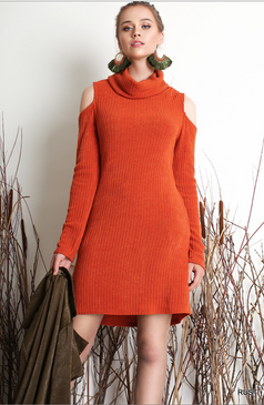 Umgee  - Cowl Neck Dress with cutout shoulders and pockets - Rust