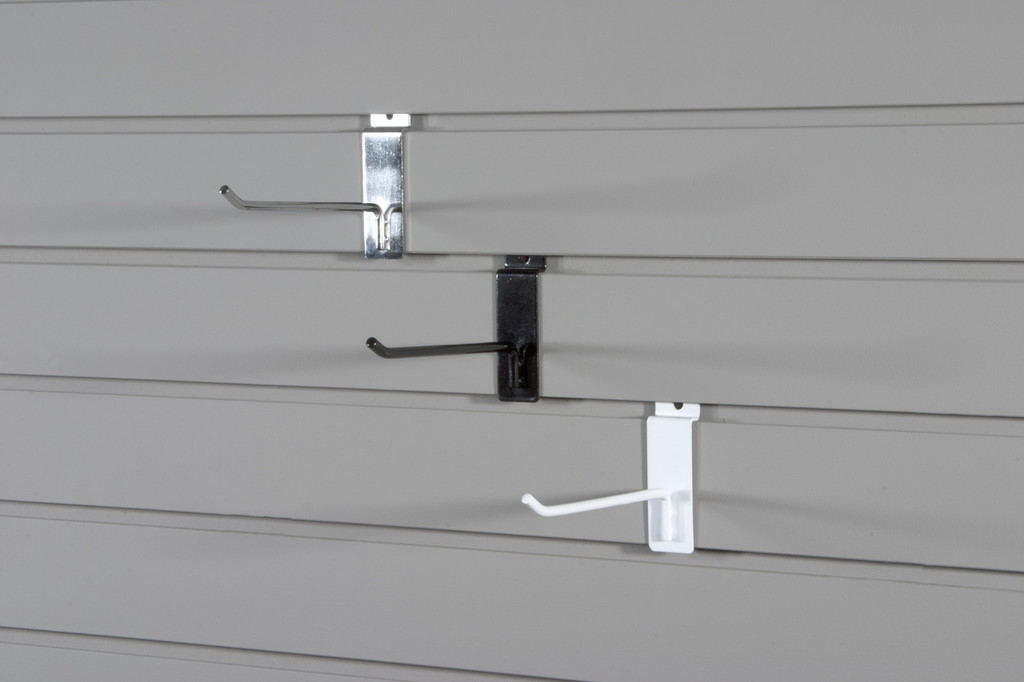 "These strong powder coated steel hooks will turn slatwall into a powerhouse. Hooks fit 1/4"" perforations and angled tip makes them safe and secure."