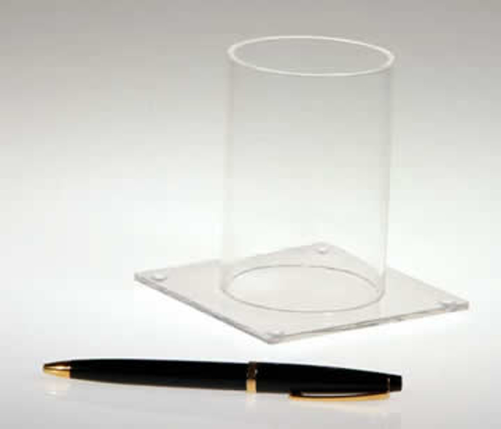 Clear acrylic pen holder - great for pens, pencils, brushes, and even bookmarks. Perfect for next to the checkout.