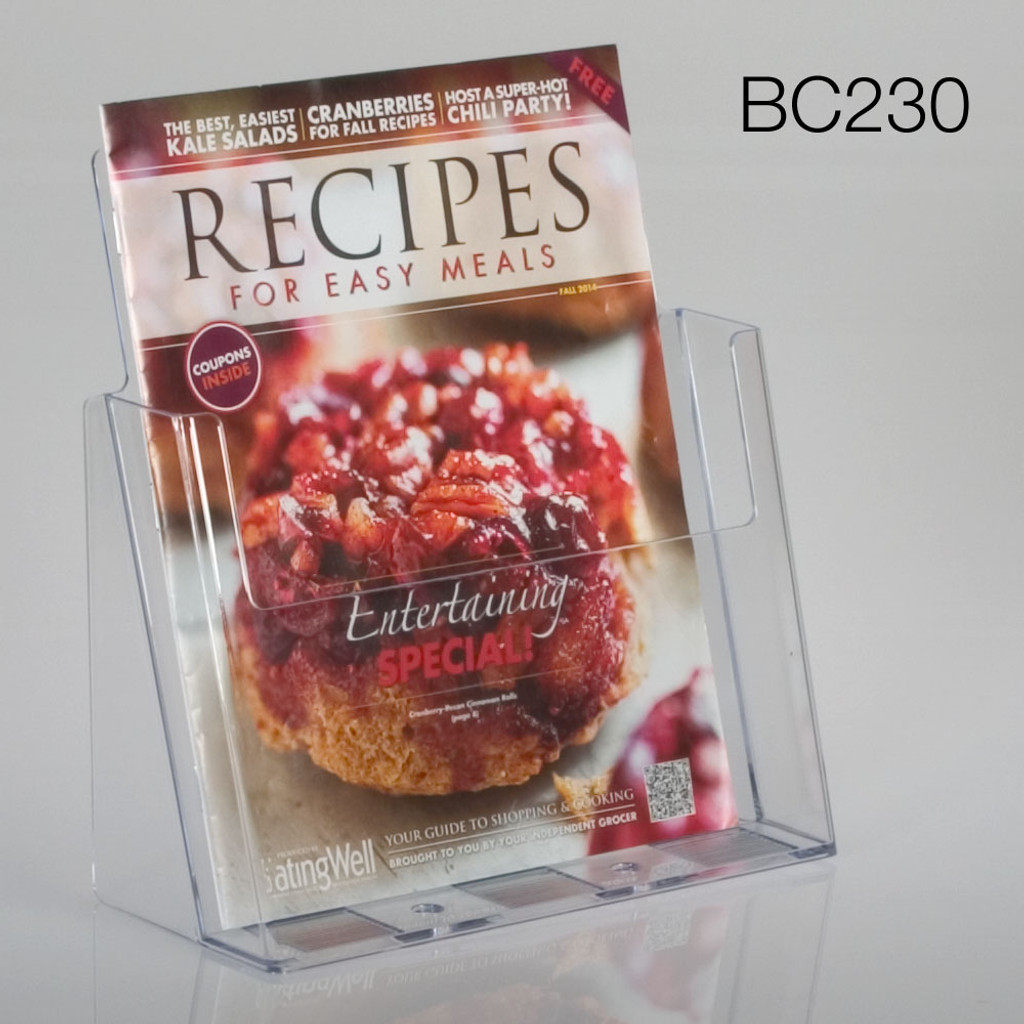 clear full sheet or magazine sized countertop brochure holder