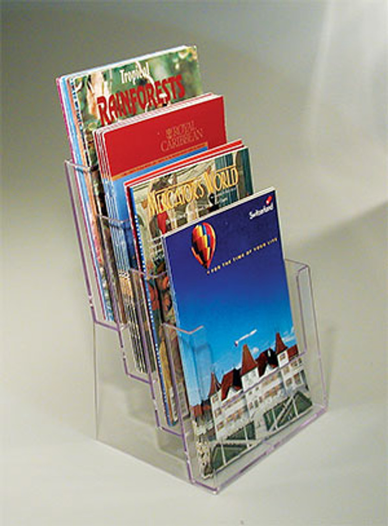 Clear acrylic brochure holder in multiple sizes for the countertop.
