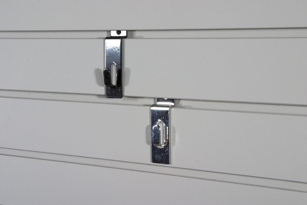 Chrome or black picture hooks for slatwall.