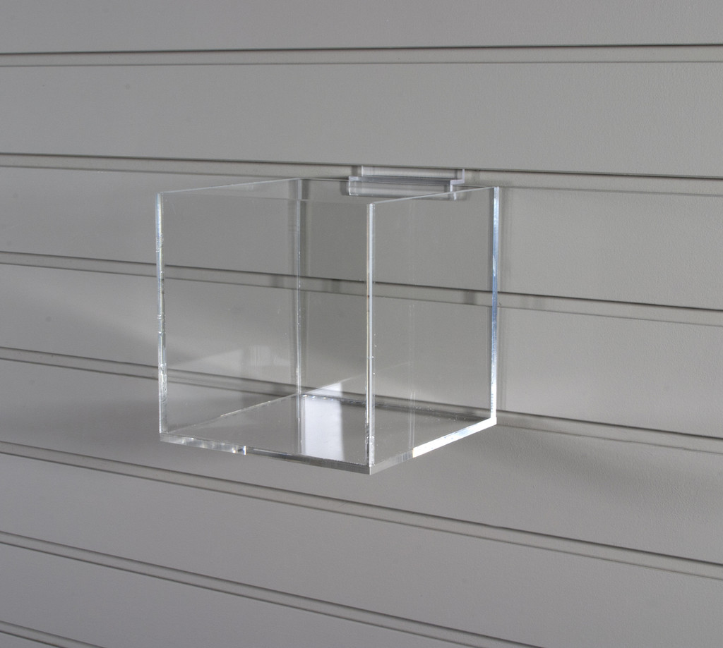 Clear acrylic five sided cubes for slatwall retail display.