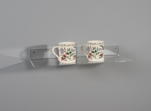Clear acrylic retail display shelf for wall - no lip.
