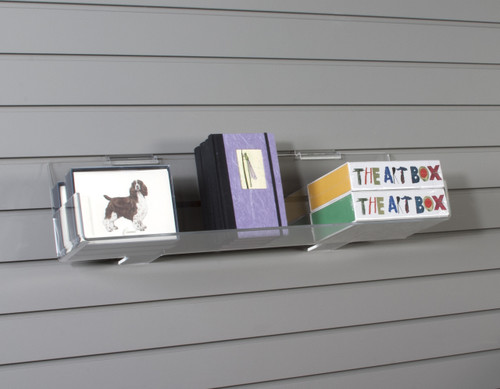 Perfect retail shelf for displaying CDs, books, or boxes on existing standard slatwall.