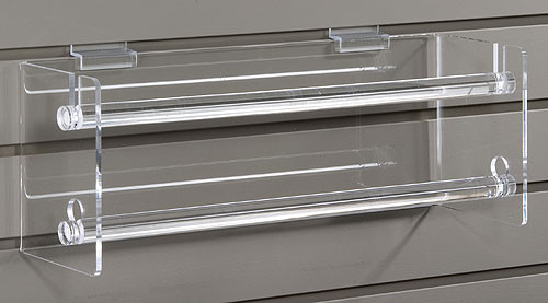 Versatile clear acrylic double dowels for dispensing ribbons/stickers. Mounts to any existing slatwall.