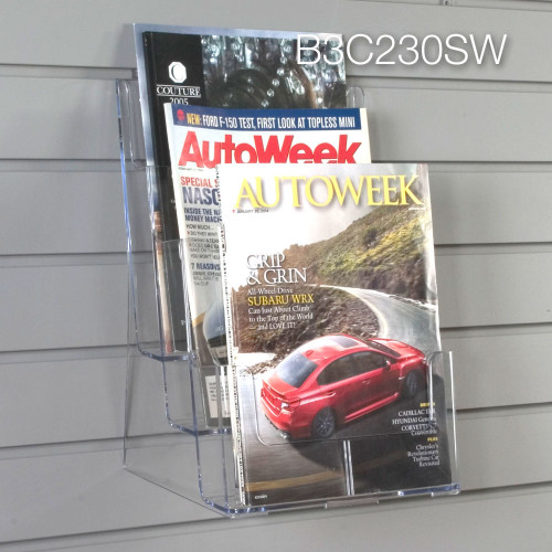 Clear acrylic three tier brochure holder for slatwall
