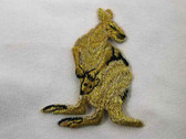 Gold Metallic Kangaroo  w Joey Embroidered Iron On Patch